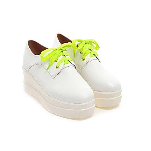 Branco Voguezone009 Meados Sapatos Quadrado Macio Calcanhar Puro Toe Bombas Senhoras Material axfYqvq