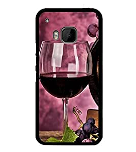 Fuson Premium 2D Back Case Cover Glass of wine With Blue Background Degined For HTC One M9::HTC M9::HTC One Hima