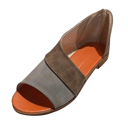 Peep Toe Lässig Slip (Übergroßer Sandalen für Damen/Dorical Frauen Sommer Retro-Peep-Toe-Sandalen mit seitlicher Abdeckung Damenschuhe Mode einfache PU-Leder Schuhe Rutschfest 35-43 EU Ausverkauf(Z12-Grau,35 EU))
