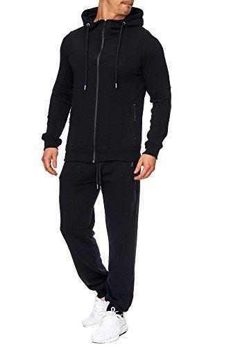 TAZZIO Herren Sportanzug Jogginganzug Trainingsanzug Sporthose&Hoodie 17203 Schwarz XL