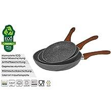 Hochwertiges 3 tlg. Pfannenset Bratpfanne Set Pfanne Grillpfanne Marmor Keramik Beschichtung (Grau/Holzgriff - 10764)