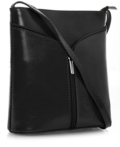Big Handbag Shop Womens Vera Pelle Mini Little Genuine Italian Leather Cross Body Bag (V120 Black)