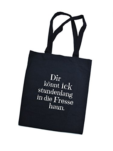 Jutebeutel bedruckt mit Berliner fresse haun - / Stoffbeutel / Jute Beutel / Einkaufsbeutel Baumwolle mit Sprüchen von SPREE Klamotte Berlin - Statement Sprüche Tasche - schwarz schwarz
