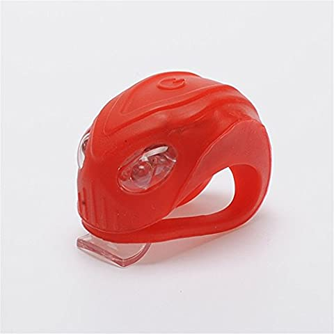 Eizur Luce Bici Silicone 3 Modalità Luce della bicicletta Luci bicicletta Impermeabile Installazione LED luminoso Lampeggiante Anteriore Posteriore della Torcia Elettrica del faro di sicurezza di riciclaggio del fanale Batterie incluse-La luce Rosso Led - Rosso