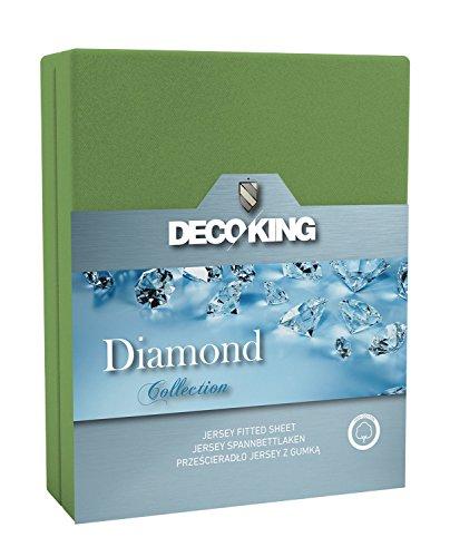 DecoKing 21460 Spannbettlaken 120 x 200 - 140 x 200 cm Jersey Baumwolle Spannbetttuch Diamond Collection, grün