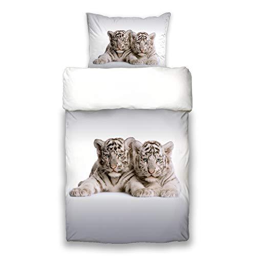 Schwanberg Bettwäsche Tigra Weiß Grau Gestreifte Baby Tiger Motiv Wildkatze Renforcé Softtouch, Größe:135 cm x 200 cm - Gestreifte Weiße Decke