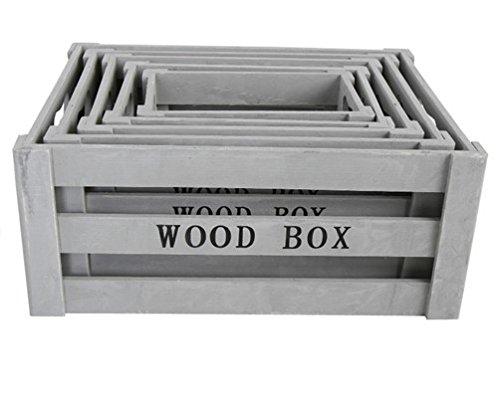 5er Set Holzkisten zur Aufbewahrung und Deko grau shabby Look