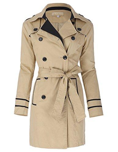 Damen Trenchcoat Zweireihig Freizeit Jacke Größe XL KK000476-1 (Jacke Peacoat Double-breasted)