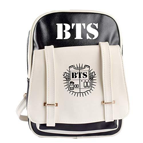 BESTHOO Unisex BTS Daypacks kugelsichere Jugendgruppe mit blauem und weißem farblich Passendem Rucksack PU-Lederrucksack Koreanische Version von Männern und Frauen für Paare