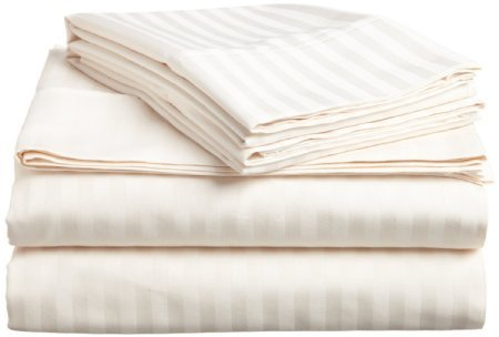 Victoria Bedding Egyptian Cotton 650-Thread-Count 4-Piece Bedding Sheet Set Fit Mattress up to (41) Cm Ultra Soft- Elegant,Comfortable,Soft Hotel & Home Quality!!( Ivory Stripe,UK Super King Size