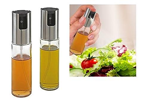 2er Dressing Zerstäuber Set - Transparente Öl- und Essig Sprüher - Öl Essig Spender aus Glas - für präzises und einfaches Dosieren (Öl / Essig
