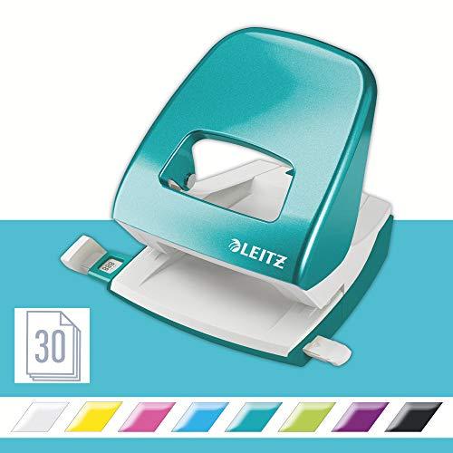 Leitz 50081051 Locher (30 Blatt, Anschlagschiene mit Formatvorgaben, Metall, WOW) metallic eisblau