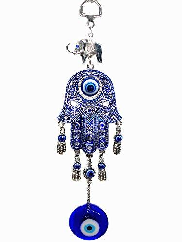 Betterdecor Azul Mal de Ojo con Hamsa Mano Protección Ornamento Colgante Pounch -028
