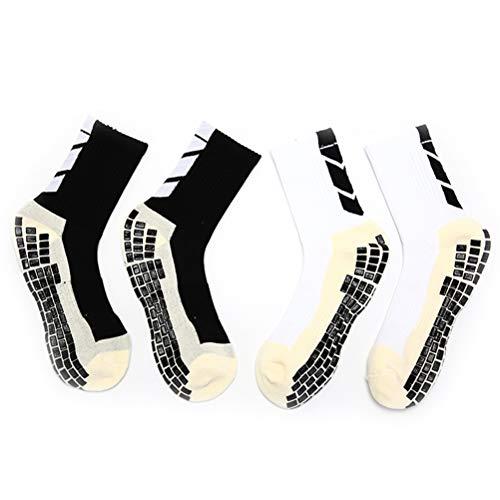 7thLake Fußball-Socken Rutschfeste Sport-Grip Pads Inside & Outside für Männer/Frauen Laufen, Gewichtheben Fußball Wandern Basketball 2 Farben 2 Paare -