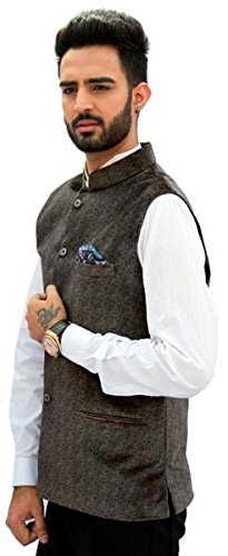 Men In Class Brown Printed Velvet Slevesless Waistcoat Nehru Jacket Style 4 Colours For Party Weeding or Formal Wear