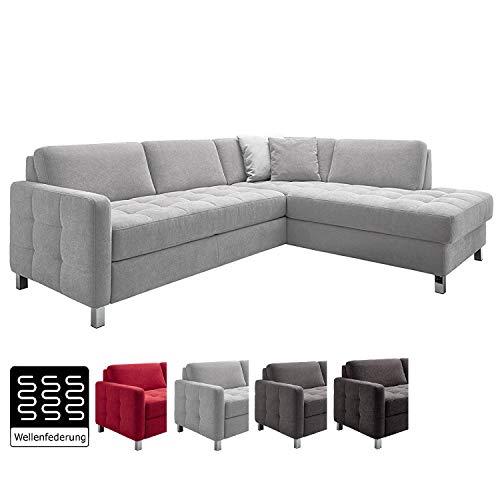 Cavadore Sofa Paolo mit gesteppter Sitzfläche / Hellgraues Ecksofa mit Wellenunterfederung / Modernes Design / 233 x 80 x 196  /  Hellgrau