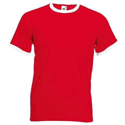 Fruit of the Loom Herren T-Shirt Mehrfarbig - Red / White