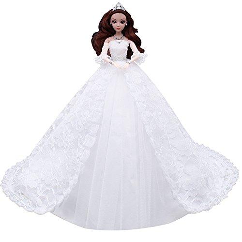 Zantec Wunderschöne weiße Spitze Brautkleid mit Schleier Romantische Kapelle Zug Brautkleid Puppe Kleidung für 12