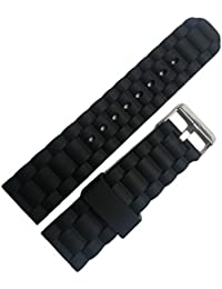 amazon co uk rubber watch straps men watches mens black silicone rubber watch straps bands waterproof 24mm spring bars