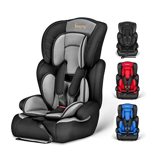 Silla de coche, Besrey bebe silla coche Grupo 1/2/3 para bebe/niños de 9 meses a 12 años, 5 puntos fijos, Reposacabezas ajuste de altura de 4 posiciones, Puede sentarse o acostarse(Gris clásico)