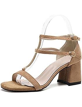 Verano gruesa con sandalias de tacón alto de la cabeza hueca cuadrada hebilla de zapatos abiertos tras bolsa con...