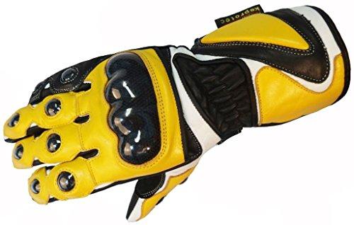 Bangla 5011 Motorradhandschuh Leder Carbon-Kevlar Schutz 5011 Gelb Gr. M
