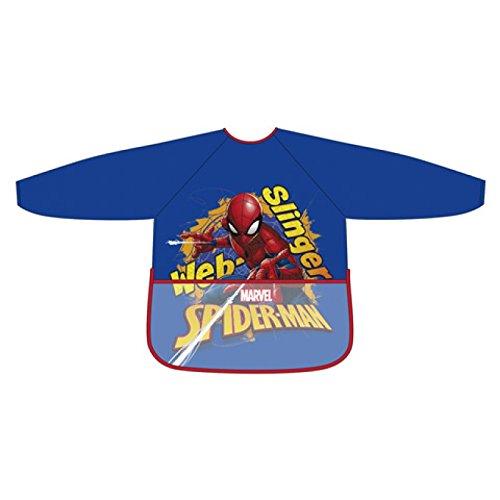 Spiderman Tablier bleu pour enfant manches longues PVC taille unique