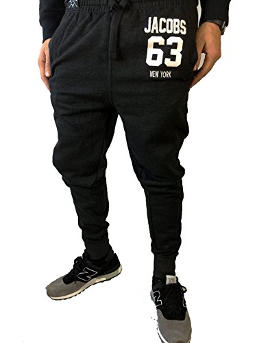 Herren Jogginghose Slim Sweatpants Loose Crotch Statement Blogger Designer Team JACOBS Trainings Freizeithosen (XL, Schwarz)