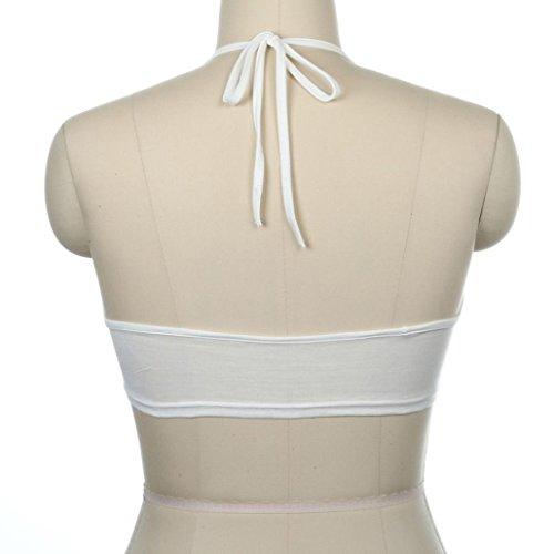 OverDose Sleeveless Letter ❤I have no time❤Halter Neck Tank Crop Short Vest Blouse T-shirt Pulli /❤Yes, Daddy?❤Unter Hosen  Weiß-Tops