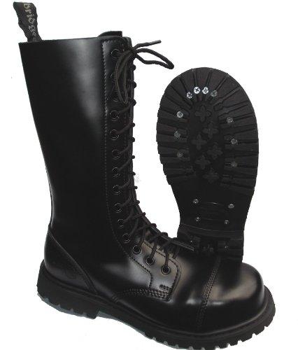 Knightsbridge 14-Loch Springerstiefel UK Gothic Style Boots schwarz Gr. 37 - 47 42,Schwarz