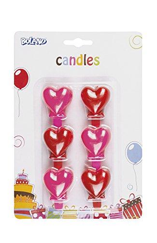 6 Stk. Kerzen rote und rosa Herzen Durchmesser ca. 30mm