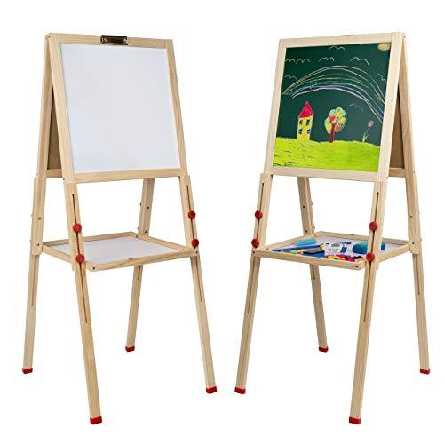 Mia Toys Kindertafel mit Kreide und Magnet Holz Schultafel für Kinder Tafel Magnetische Kreidetafel ZUBEHÖR 109 Teile Kinder Spaß Und Bildung