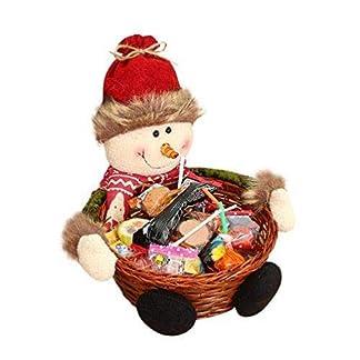 Depory Cesta de almacenaje para Navidad de, para Caramelos o decoración, diseño de Papá Noel, muñeco de nievo, Reno y Elfo, bambú, muñeco de Nieve, 18 * 18CM