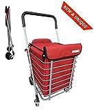 Einkaufstrolley mit Metallgestell und Korb - 4 Räder - Faltbar - Großkapazität 60L - Mit Kühltasche