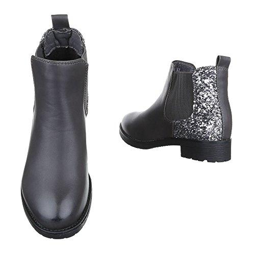 ... Chelsea Boots Damen Schuhe Chelsea Boots Blockabsatz Stretch Ital-Design  Stiefeletten Grau W152