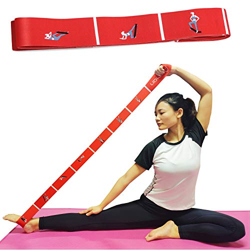 Aeman Elastikband mit Schlaufen - 5cm Breite Elastisch Gymnastikband Yogagurt Fitnessbänder Trainingsbänder für mehr Beweglichkeit - Transportbeutel (rot)