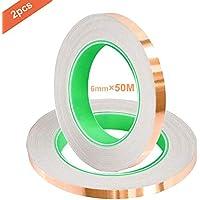 QitinDasen 50M X 6mm Premium Cobre Lámina Cinta, Cobre Hoja Cinta con Doble Conductora, para Blindaje EMI, Circuitos de Papel, Reparaciones Eléctricas, Repelente de Babosas (2 Rollos)