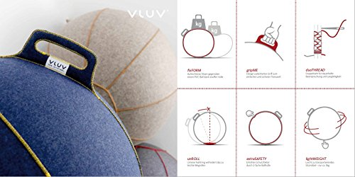 VLUV VELT Filz-Sitzball SBV-001.75BG, ergonomisches Sitzmöbel für Büro und Zuhause, Farbe: braun-melange/grün, Ø 70cm – 75cm, 100% Merino Wollfilz, robust und formstabil, mit Tragegriff
