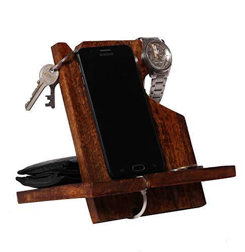 Handgefertigter Handyständer aus Holz für Handy mit Schlüsselhalter, Geldbörsenständer und Uhrenorganizer, Geschenk für Herren, Android iPhone