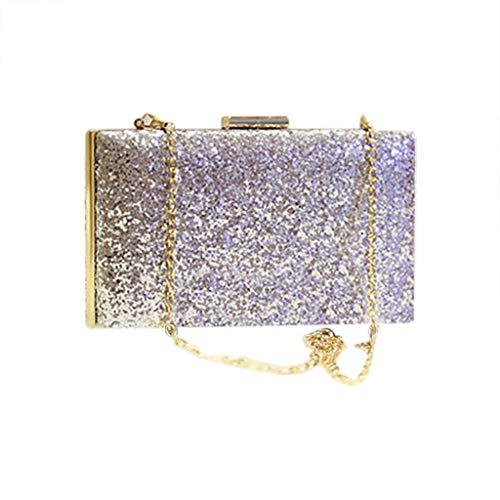 SoonerQuicker Brieftasche Damen Frauen Abend Umschlag Handtasche Party Sparkly Clutch Geldbörse Schulter Cross Bag Silber One Size