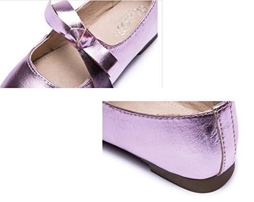 Ohmais Enfants Filles Chaussure cérémonie Ballerines à bride Fête Demoiselle d'honneur Mariage Escarpin plat Babies Violet