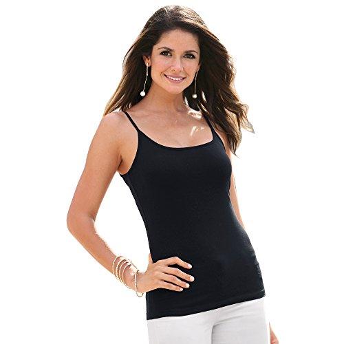 Camiseta Lisa Finos Tirantes Espagueti Mujer - 112004,Negro,M
