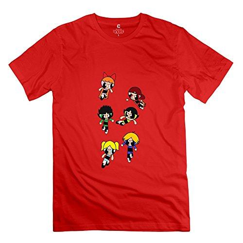 KST Herren T-Shirt Gr. Small, Braun - Rot (Diy Girls Powerpuff)