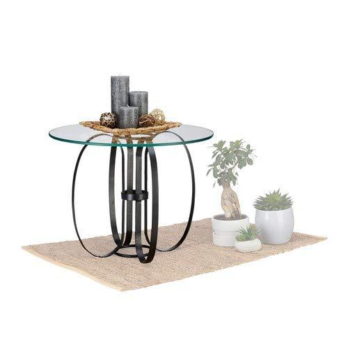 Glas Metall-beistelltisch (Native Home Glastisch rund, modern, Glas & Metall, als Couchtisch & Beistelltisch, HxD: 45 x 60 cm, transparent-schwarz)