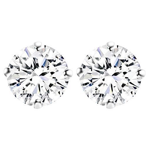 LÖB Damen Ohrstecker 925 Silber rhodiniert mit Zirkonia Strass Stein Stecker Ohrringe Diamant Form Rund Klein Weiß 3mm (Strass Kleine Ohrringe)