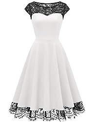 HomRain Damen 1950er Elegant Spitzenkleid Rundhals Knielang festlich Cocktail Abendkleid White L