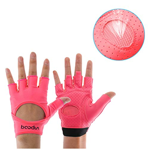 Sforza Yoga Handschuhe für die Frau, Rutschfeste Verschleißfeste Halbe Finger Gymnastikhandschuh für Fitnessübungen Klettern Radfahren - Rot (Handschuhe Stanzen Rosa)