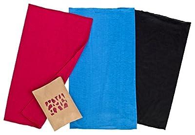 [3er SET] Premium Multifunktionstuch Schwarz / Blau / Rot | Sturmmaske | Paintballmaske | Bandana | Schlauchtuch | Halstuch | Maske für Motorrad Fahrrad Ski Paintball