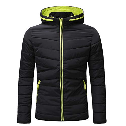 Yvelands Herren Baumwolle gefütterte Jacke Winter Warm Lässig Reißverschluss Dicker Fleece Mantel (EU-54/L3,Schwarz)