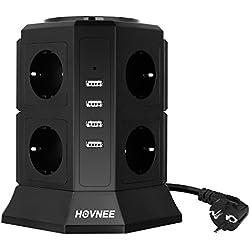 HOVNEE Tour Multiprise à 8 prises pour barrette d'alimentation (2500 W / 10 A) avec 4 ports de charge USB (5 V / 4,5 A), protection contre les surtensions , noir